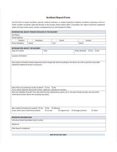 blank incident report form