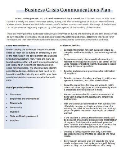 business crisis communication plan