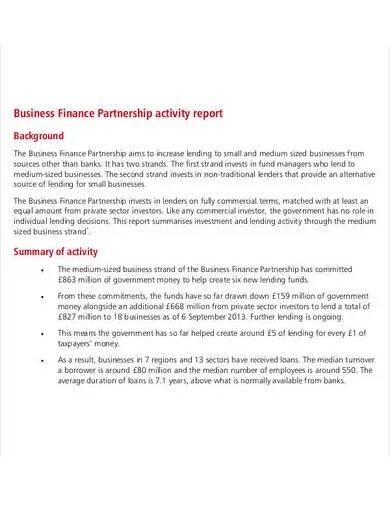 business finance partnership activity report