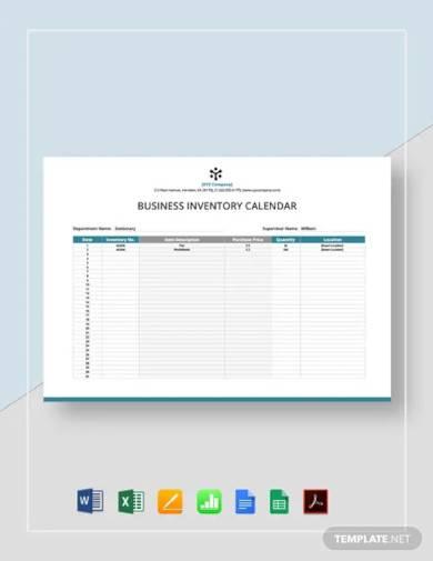 business inventory calendar template