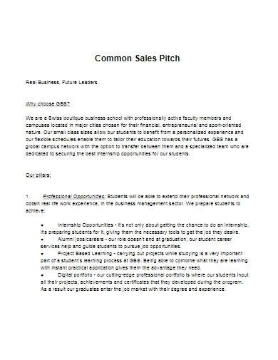 common sales pitch template