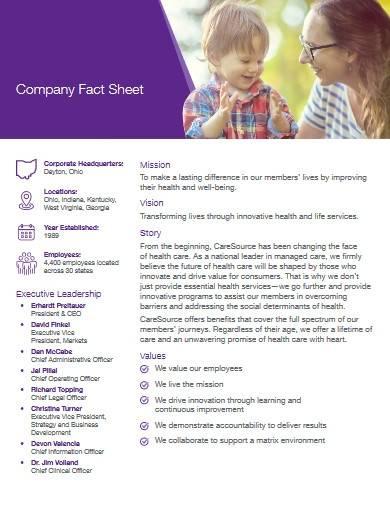 company fact sheet templates