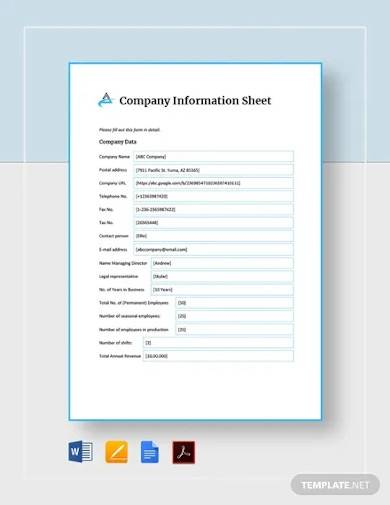 company information sheet template