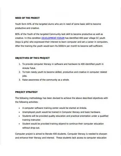 computer training project proposal