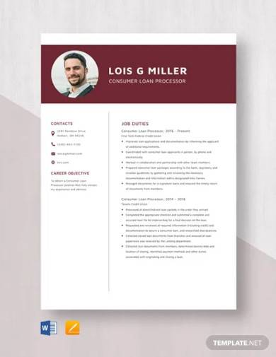 consumer loan processor resume template