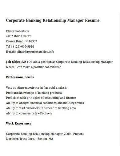 corporate banking relationship manager resume