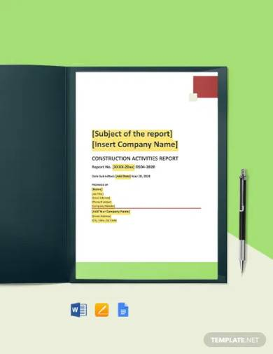 daily construction activities report template