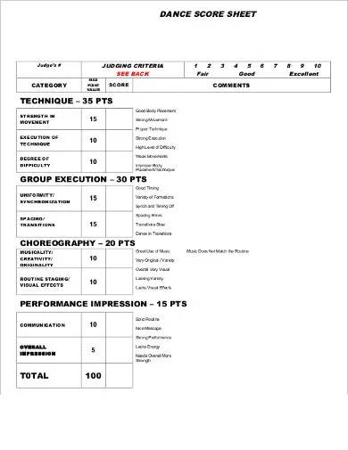 dance score sheet sample