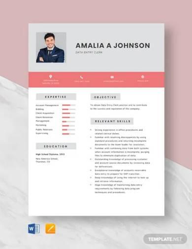 data entry clerk start resume template