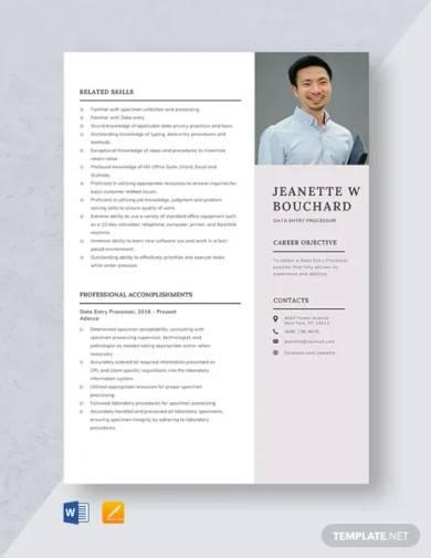 data entry processor resume template