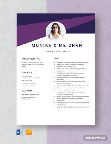 data entry specialist resume template