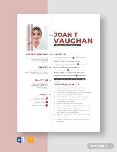 data entry worker resume template