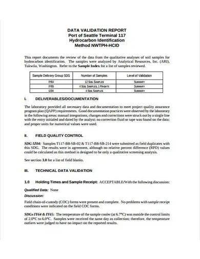 data validation report templates