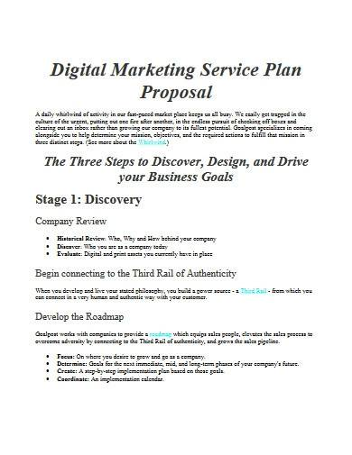 digital marketing service plan proposal