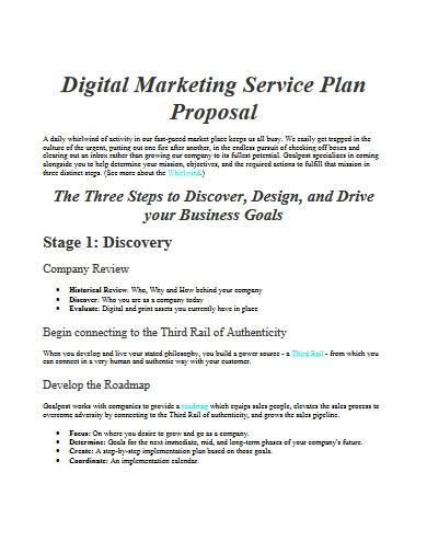 digital marketing service plan proposal