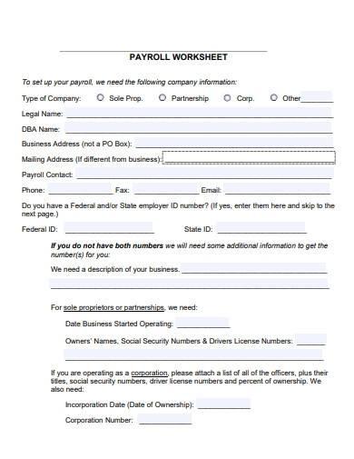 editable payroll worksheet