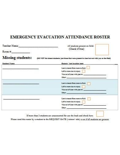 emergency evacuation attendance roster