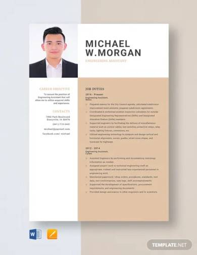 engineering assistant resume template
