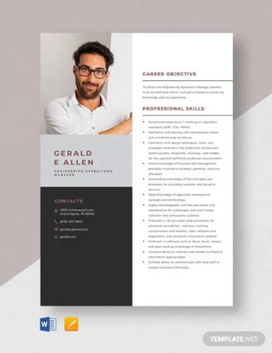 engineering operations manager resume template