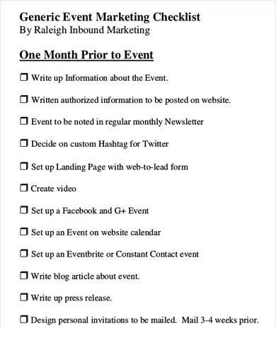 event marketing checklist template
