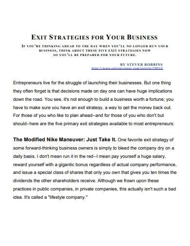 exit strategies for business