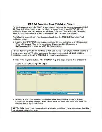 final validation report format