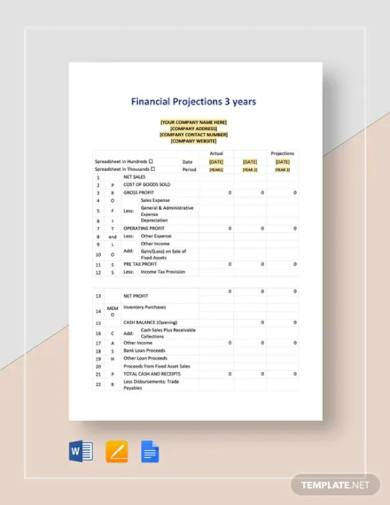 financial projections 3 years template