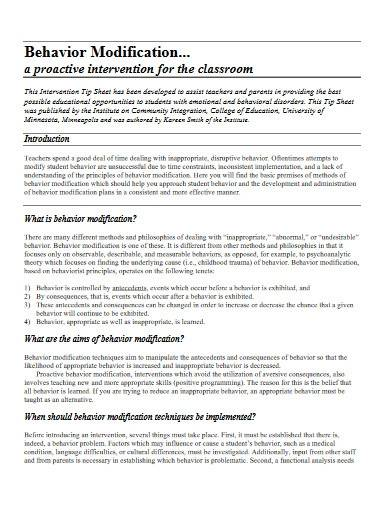 formal behavior modification plan