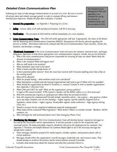 formal crisis communication plan