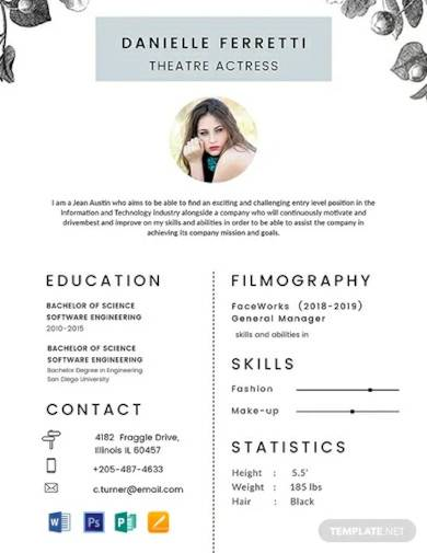 free beginner acting resume template