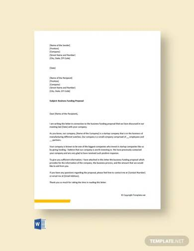 free business funding proposal cover letter