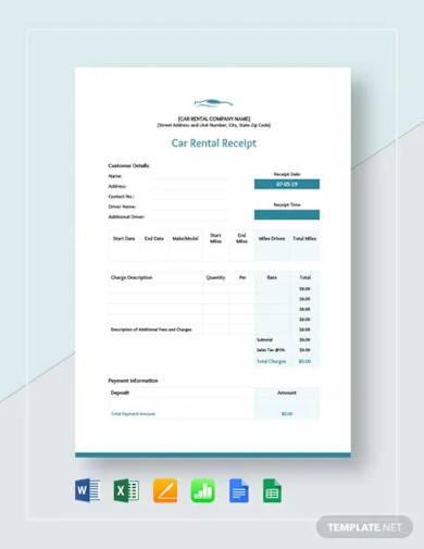 free car rental receipt template