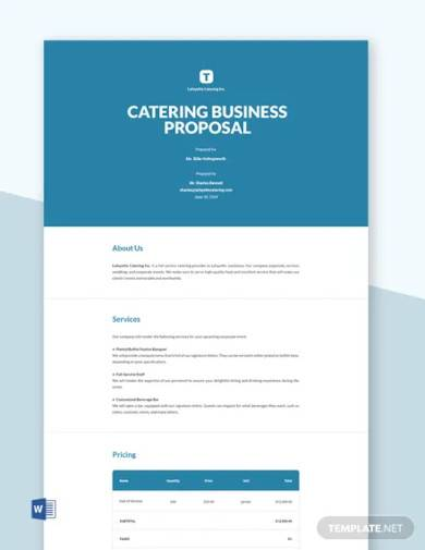 free catering business proposal template