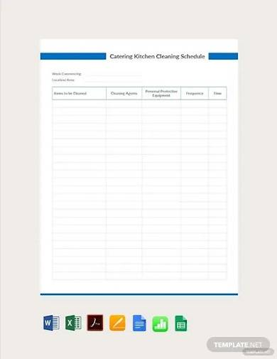 free catering kitchen cleaning schedule template