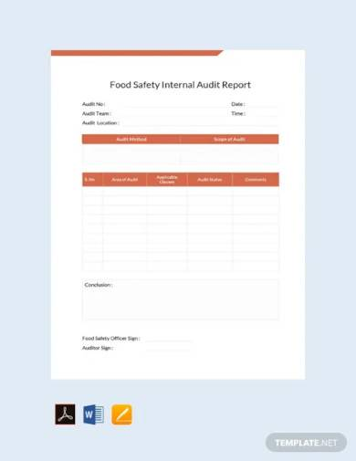 free food safety internal audit report template