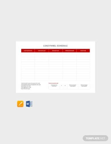 free load panel schedule template