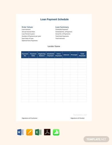 free loan payment schedule template