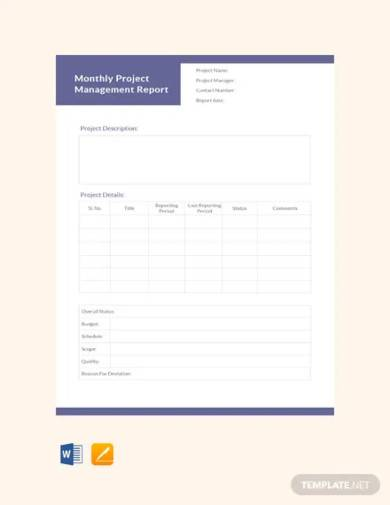 free monthly project management report template