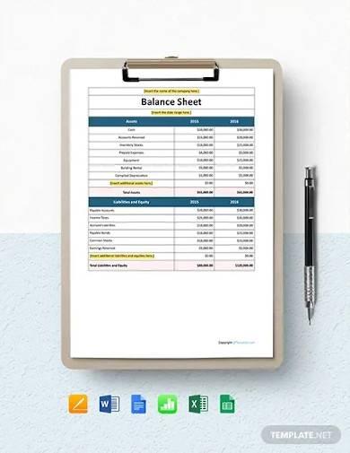 free simple it company balance sheet template