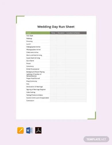 free wedding day run sheet template