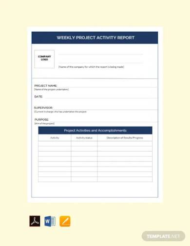 free weekly project activity report template