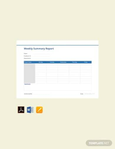free weekly summary report template