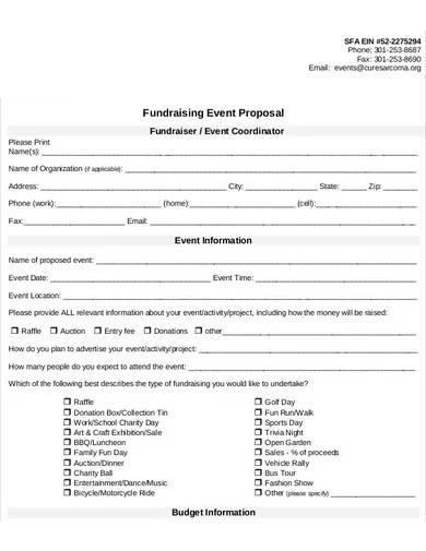 fundraising event coordinator proposal
