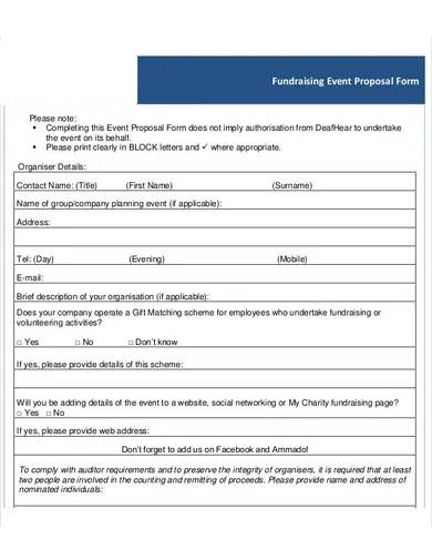 fundraising event proposal form sample