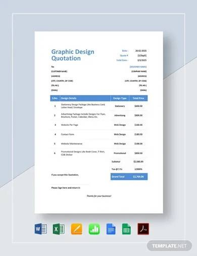 graphic design quotation template