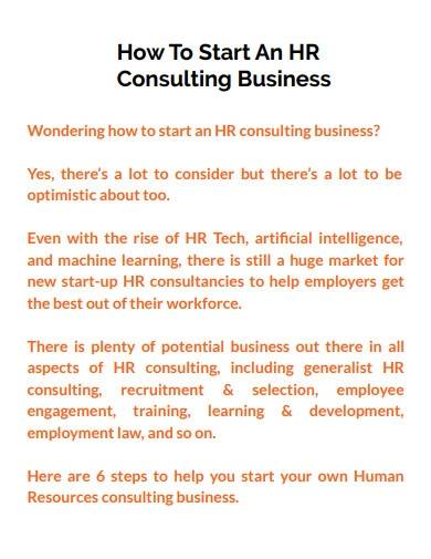 hr consulting business plan overview