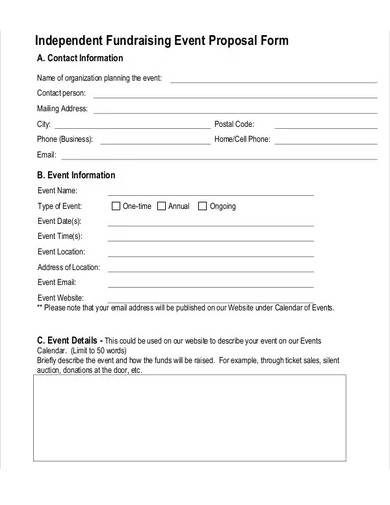 independent fundraising event proposal form