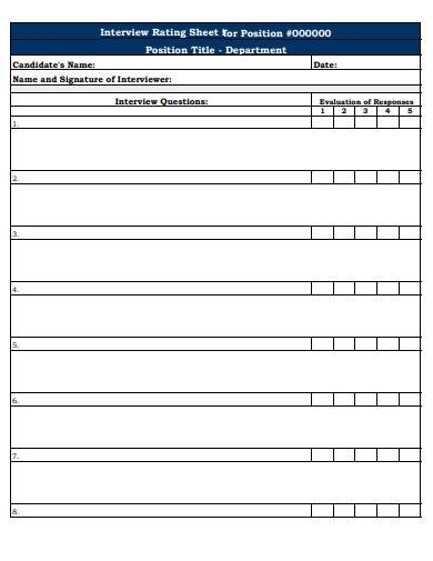 interview rating sheet template