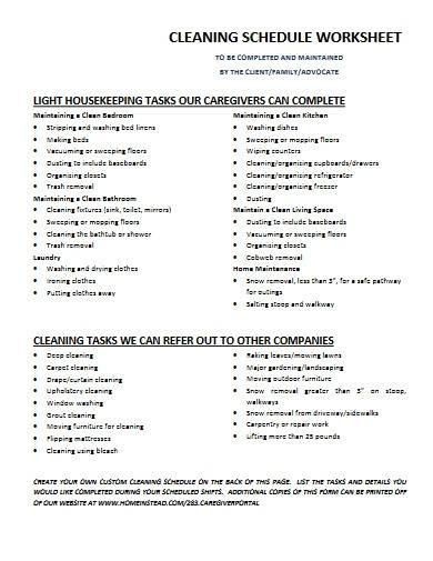 kitchen cleaning schedule worksheet