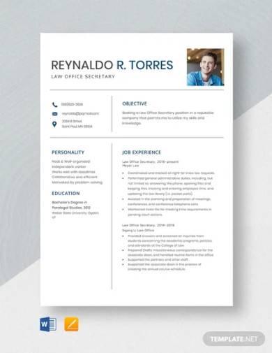 law office secretary resume template